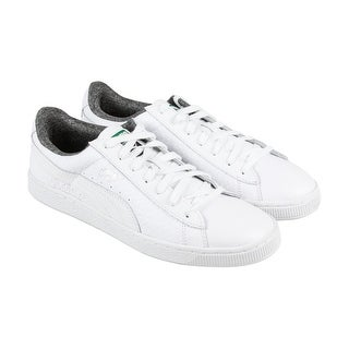 b488f386709b8a Shop Puma Basket Classic Textured Mens White Leather Lace Up Sneakers Shoes  - Free Shipping Today - Overstock.com - 22531536