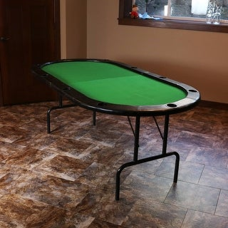 Sunnydaze 8-Player Folding Oval Poker Table with Cushioned Rail and Cup Holders