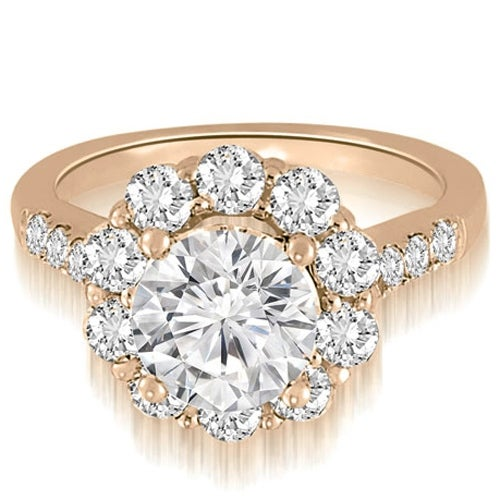 1.75 cttw. 14K Rose Gold Halo Round Cut Diamond Engagement Ring