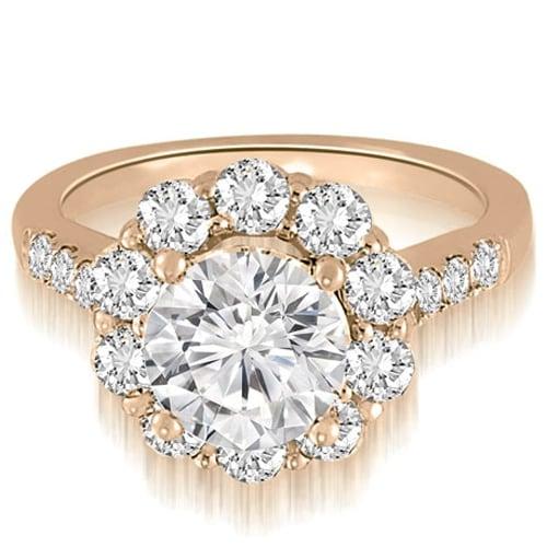1.75 cttw. 14K Rose Gold Halo Round Cut Diamond Engagement Ring