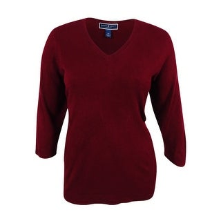 Karen Scott Women's Plus Size Luxsoft V-Neck Sweater