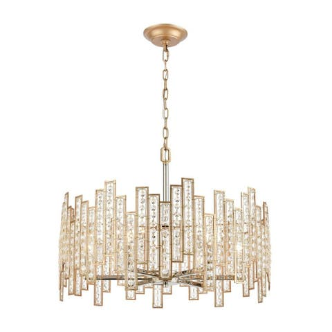 Borrowdale Leas - Six Light Chandelier Matte Gold/Polished Nickel Finish with Clear Crystal Glass