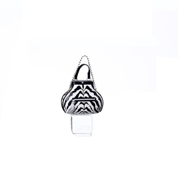 "4"" Zebra Print Silver Tassel and Rhinestone Strap Accented Christmas Ornament"