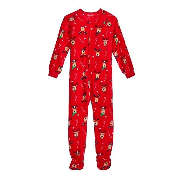 455d0e1407 Shop Family PJs Reindeer Footed Pajamas Kids Christmas - Free ...