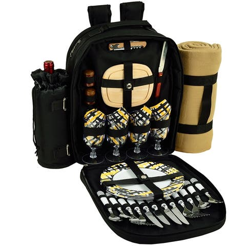 Picnic at Ascot Deluxe Equipped 4 Person Picnic Backpack w/Blanket -Black /Paris - Paris Plaid