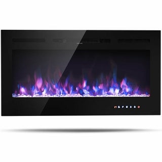 Gymax 40'' Electric Fireplace Recessed and Wall Mounted 750W/1500W W/ Multicolor Flame