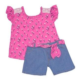 Girls Fuchsia Flower Print Flutter Sleeve 2 Pc Demin Shorts Outfit