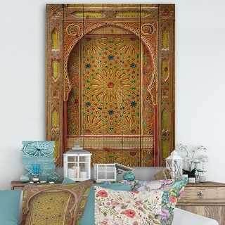 Link to Designart 'Moroccan Entrance Door in Fez' Vintage Print on Natural Pine Wood - Multi-color Similar Items in Wood Wall Art