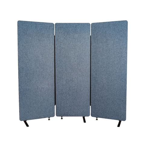 Offex Acoustic Fabric Room Divider in Pacific Blue - 3 Pack