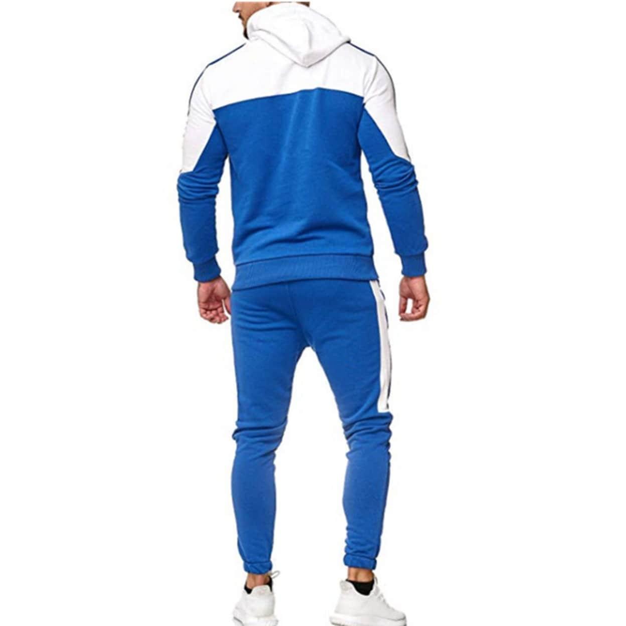 Love My Fashions/® Mens Tracksuit Set Kids Contrast Cord Fleece Hoodie Top Bottoms Jogging Zip Joggers Gym Causal Exercise Running Sport Sweat Suit Pants Plus Size S M L XL XXL