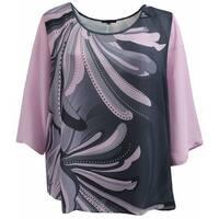 Women Plus Size Flowy Chiffon Multi Print Fashion Blouse Tee Shirt Knit Top Dark Pink Charcoal G17024L-15