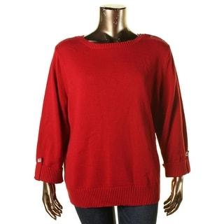 Karen Scott Womens Plus Button Shoulder Boatneck Pullover Sweater