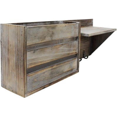 Folating Wall Shelf with 1 Compartment and 3 Key Hooks