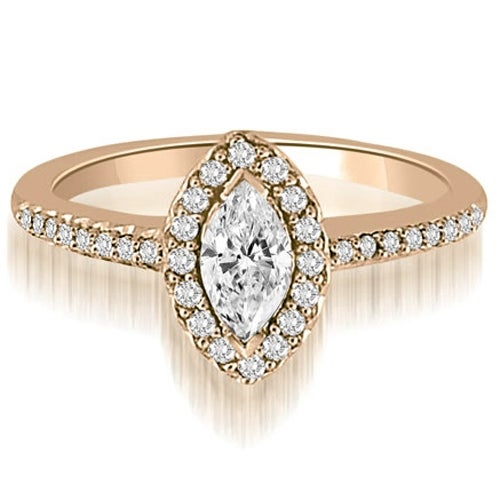 0.80 cttw. 14K Rose Gold Halo Marquise And Round Cut Diamond Engagement Ring