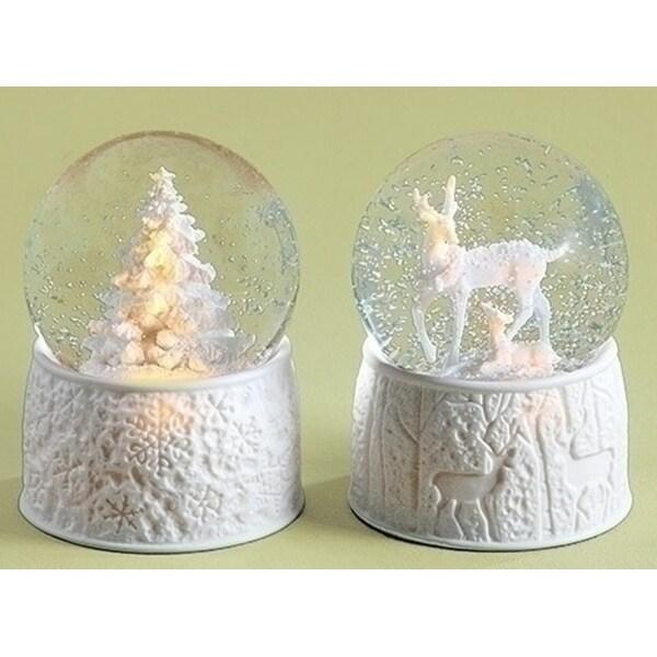 "5.75"" LED Musical ""Oh' Christmas Tree"" Porcelain Christmas Tree Christmas Glitterdome - WHITE"