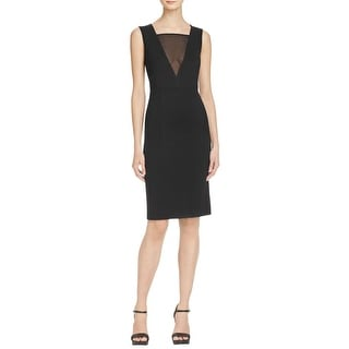 French Connection Womens Lula Party Dress Mesh Inset V-Neck Black 2