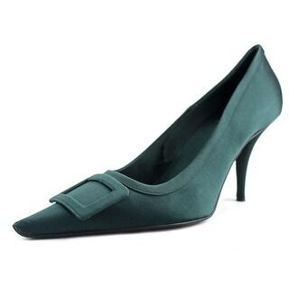 Roger Vivier Fibbia Trapeze Ricopert Women Pointed Toe Canvas Green Heels