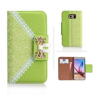 Wallet Protector Case for Samsung Galaxy S6 (Silver lace and Light Green)
