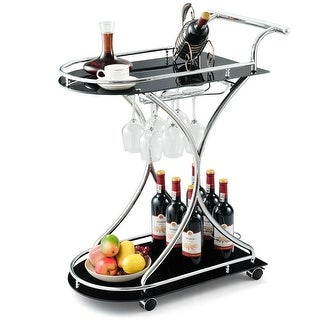 Gymax Serving Cart Kitchen Bar Wine Cart 2 Tier Glass Shelves and Metal Frame w/Wheels