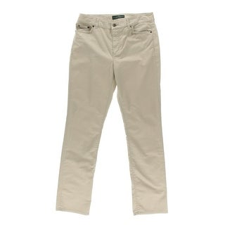 LRL Lauren Jeans Co. Womens Twill Straight Leg Khaki Pants