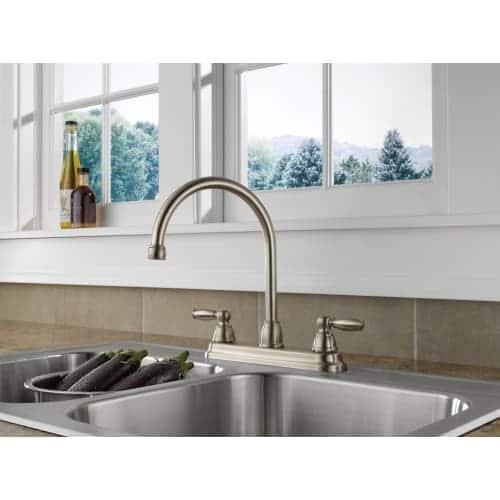 Peerless Apex Oil Rubbed Bronze 2-handle Deck Mount High-Arc Kitchen Faucet