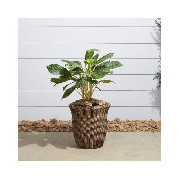 """14"""" Brown Curved Oval Smart Self-Watering Planter - N/A"""