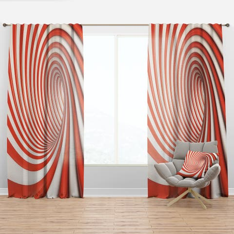 Designart 'Red and White Lined Spiral' Modern & Contemporary Curtain Panel