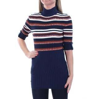 STYLE & COMPANY $49 Womens New 1131 Navy Striped 3/4 Sleeve Top XS B+B