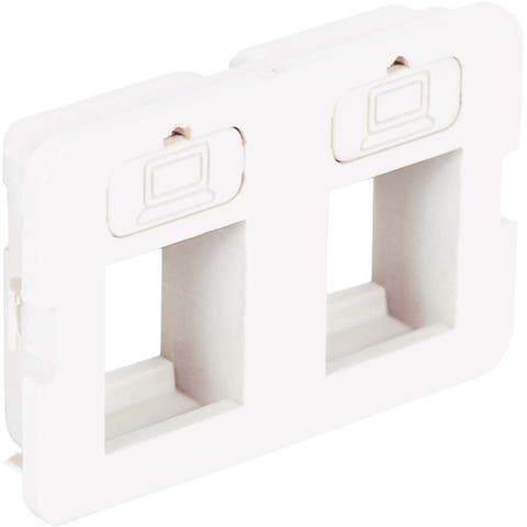 Icc ic108bf2wh bezel, elite, flat, 2-port, white