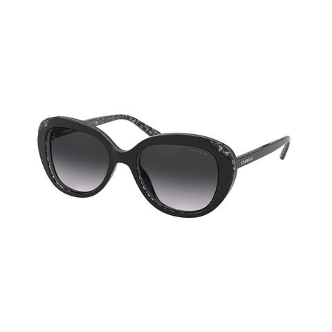 Coach HC8289 55828G 53 Black Glitter Signature C Woman Round Sunglasses