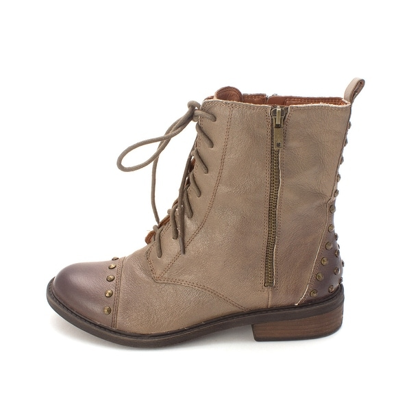 Lucky Brand Womens Nolan2 Leather Round Toe Ankle Combat Boots - 9.5