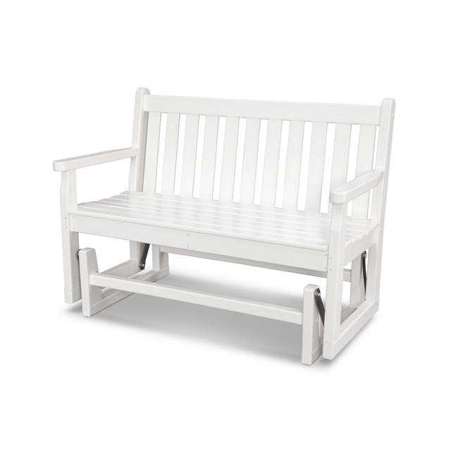POLYWOOD Traditional 48-inch Outdoor Garden Glider Bench - White