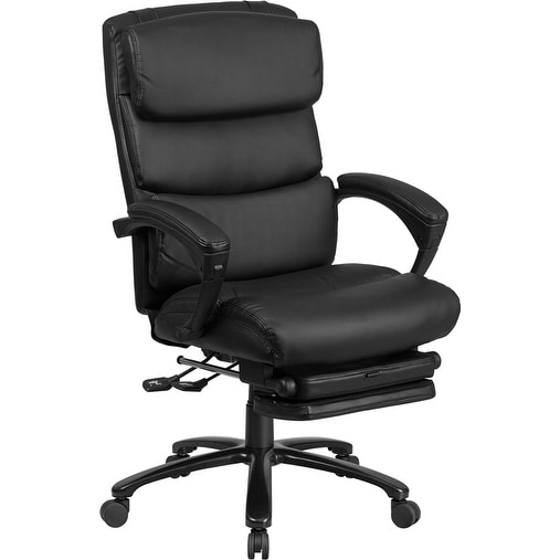 Silkeborg High Back Black Leather Stylish Executive Reclining Swivel Chair w/Comfort Springs & Arms