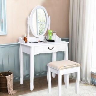 Costway Vanity Table Jewelry Makeup Desk Bench Dresser w/ Stool Drawer White bathroom