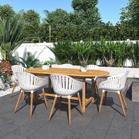 Amazonia Teak Jade 7-Piece Outdoor Rectangular Patio Dining Set
