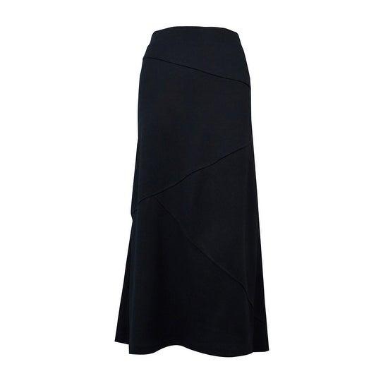 JM Collection Women's Asymmetrical Seamed Ponte Skirt - Deep Black