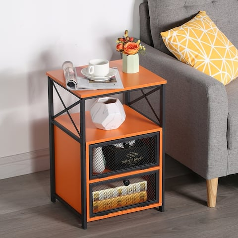 VECELO Side Table/Sofa Table/End Table/Nightstand with Screen Door and Two Shelves 5 Color Options