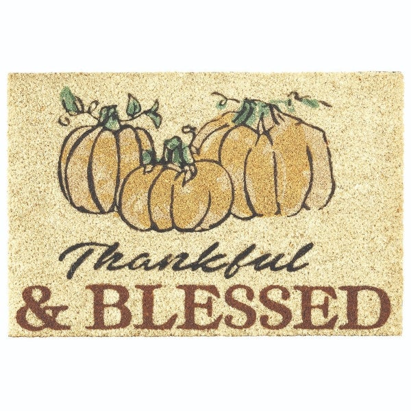 """24"""" Beige """"Thankful and Blessed"""" Pumpkin Thanksgiving Doormat - N/A"""