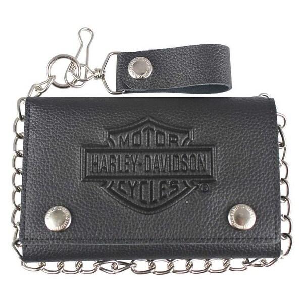 "Harley-Davidson Men's B&S Embossed Trucker Tri-Fold Plus Wallet XML3514-BLACK - 5.75"" x 3.75"""