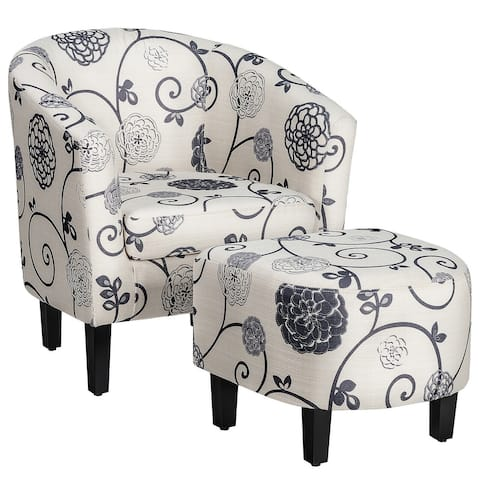 Gymax Modern Accent Tub Chair&Ottoman Set Fabric Upholstered Club - See Details