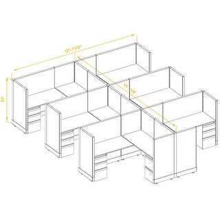 Workstation Desk 53H 6pack Cluster Unpowered (5x6 - Espresso Desk White Paint - Assembly Required)