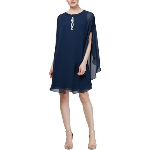 SLNY Womens Cocktail Dress Embellished Knee-Length