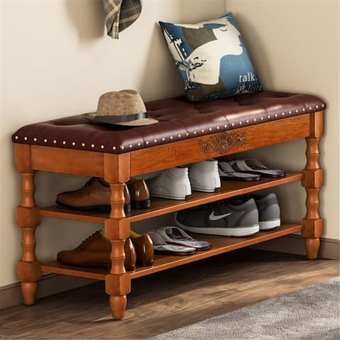 Solid Wood Shoe Bench Entryway Bench with Lift Top - Walnut