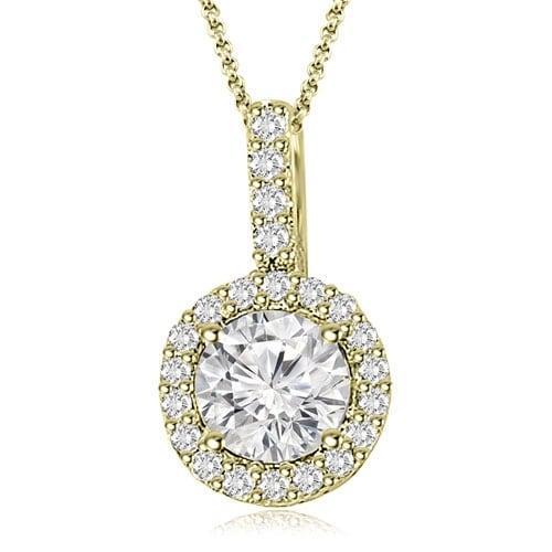 1.15 cttw. 14K Yellow Gold Halo Round Diamond Pendant