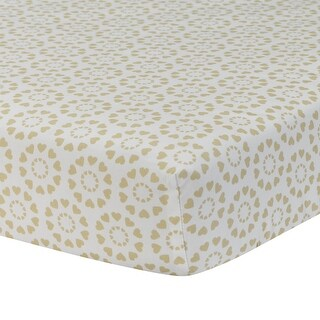 Lambs & Ivy Dawn Fitted Crib Sheet - Gold, White, Love, Hearts, Modern, Girl