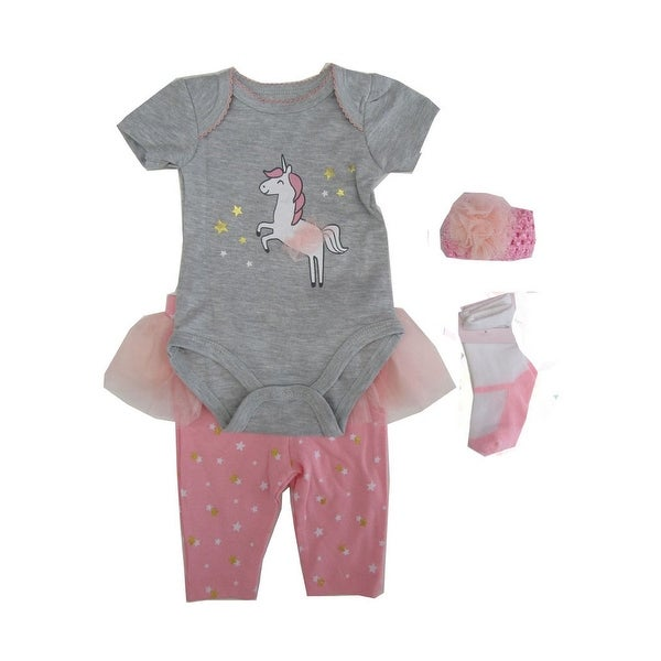 6c517a165f33c Weeplay Baby Girls Gray Unicorn Bodysuit Pants Headband Socks Outfit