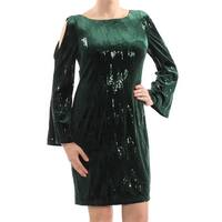 JESSICA HOWARD Womens Green Cold Shoulder Sequined Long Sleeve Square Neck Knee Length Shift Cocktail Dress  Size: 10