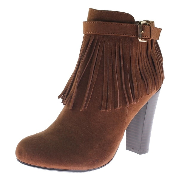 Material Girl Womens Persia Ankle Boots Suede Fringe Stacked Heel - 6 medium (b,m)