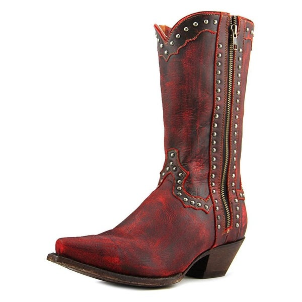 Dan Post Studded Cowgirl Women  Square Toe Leather Red Western Boot