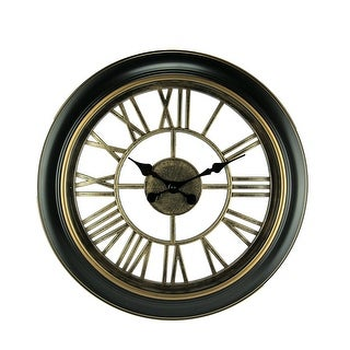 Black and Gold Open Frame Cut Out Design Wall Clock - 18 X 18 X 2 inches